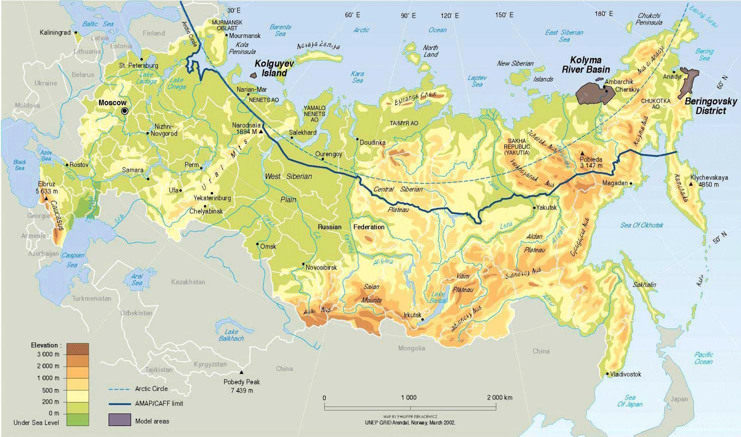 Geographische Karte Von Russland Russland Geographische Karte