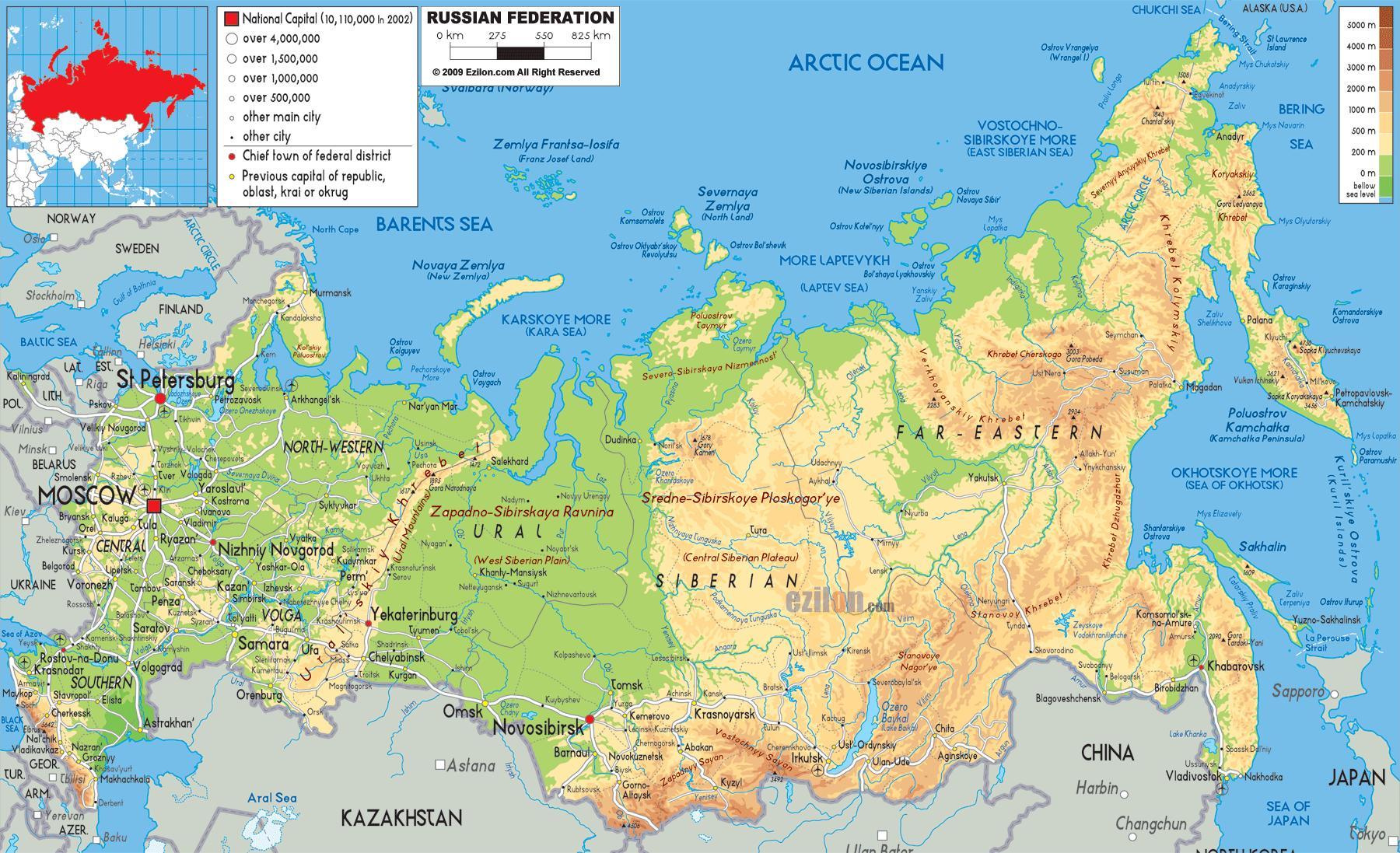 Karte Von Russland Physikalischen Eigenschaften Die