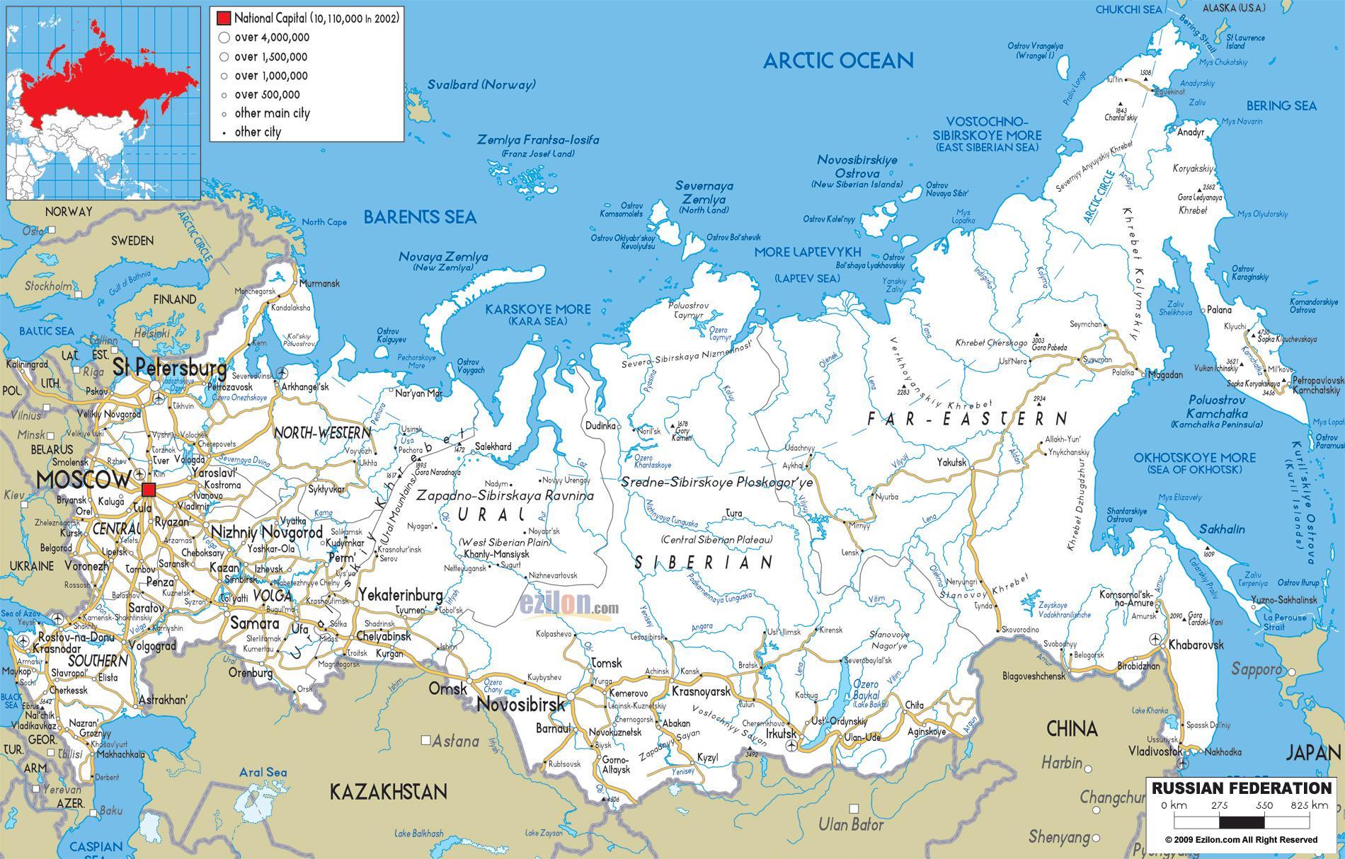 Russischen Stadten Anzeigen Russischen Landkarte Mit Stadten In