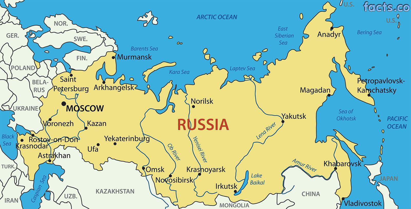 Russland Karte Beschriftet Beschriftet Die Karte Von Russland