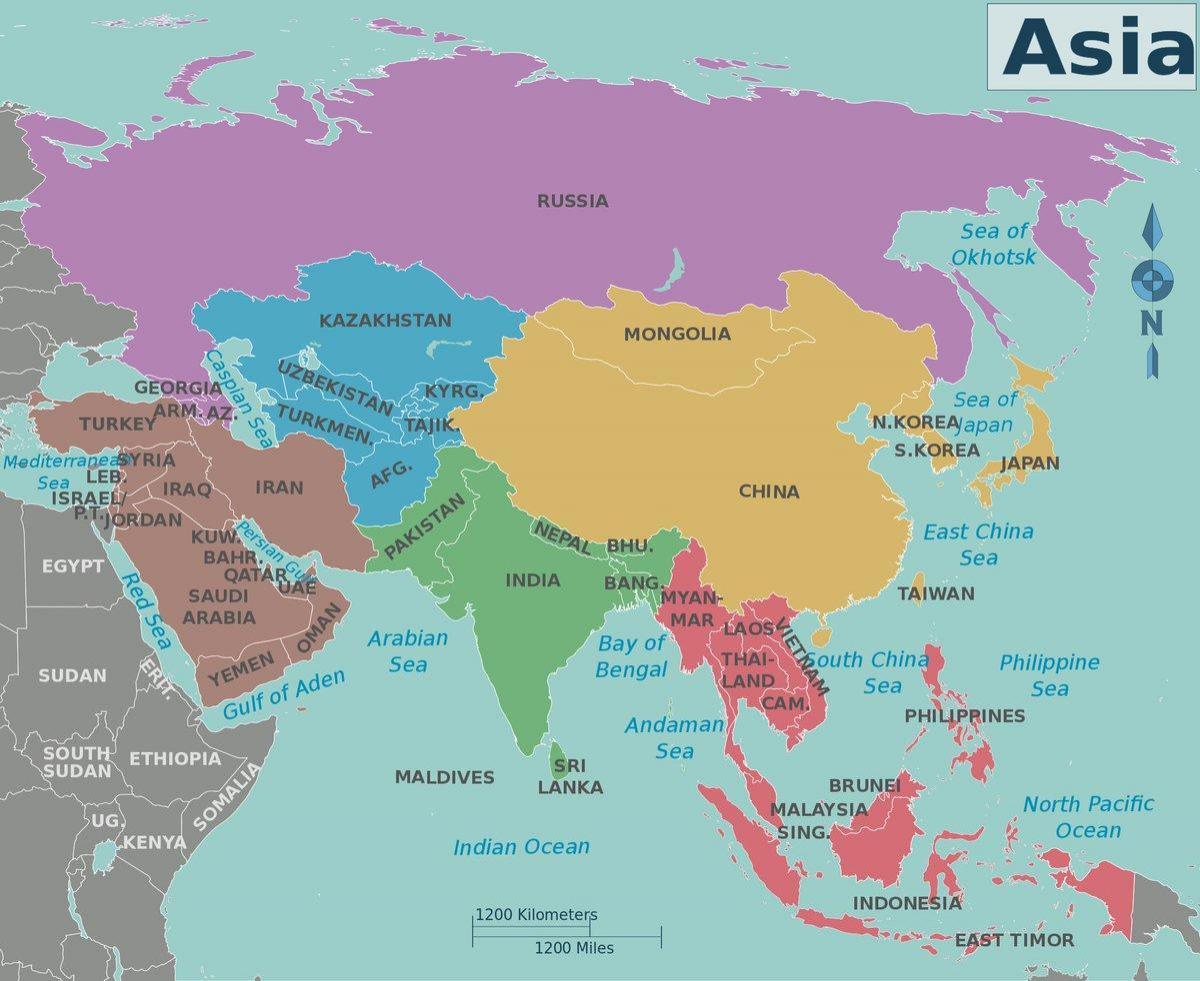 Karte Russland Asien.Asien Und Russland Landkarte Karte Von Asien Russland