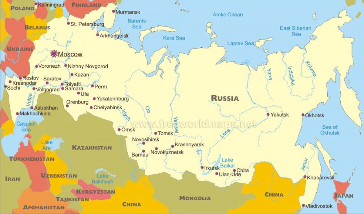 Karte Der Russischen Stadte Karte Stadten Russlands Osteuropa