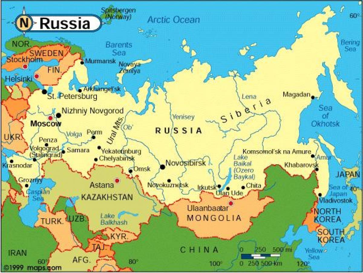 Karte Von Russland Und Den Umliegenden Landern Russland Und Die