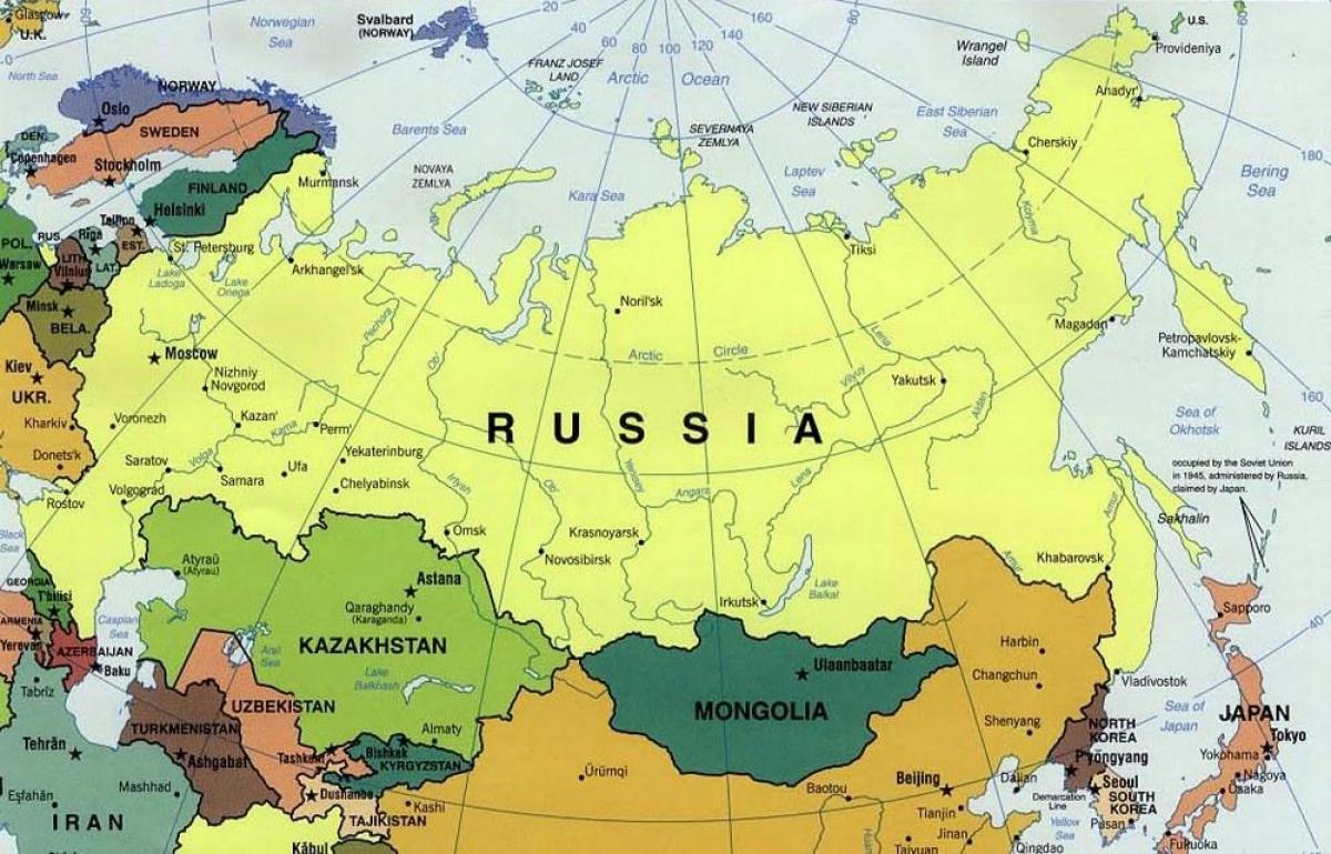 Russland Benachbarten Lander Karte Karte Von Russland Und Den