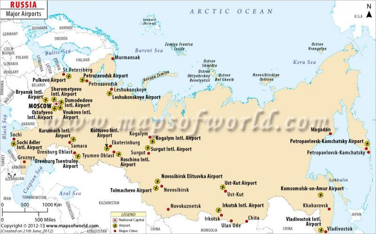 Karte Anzeigen.Russland Flughafen Karte Russland Airport Karte Osteuropa