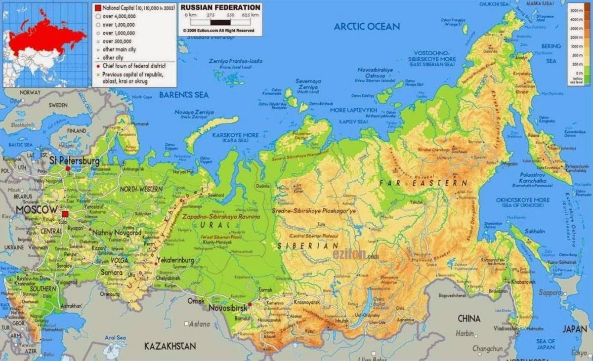 Russland Geographie Landkarte Russischen Geographischen Karte